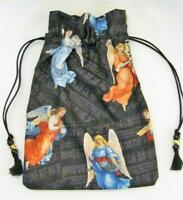 "Victorian Angels Tarot Card Drawstring Mojo Bag Cotton Pouch  9""x6"" FREE SHIP"
