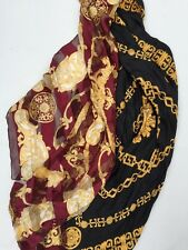 Two Silk Scarves Art Of Silk Tie Rack Gold Black Maroon Scarf