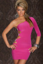 Pink Club Dress One Sleeve Side Cut Out Cocktail Mini Silver Accents 2551