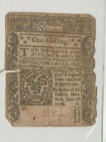 JUNE 7, 1776 1s ONE SHILLING CONNECTICUT COLONIAL CURRENCY NOTE