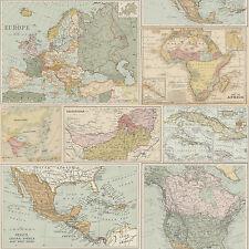 98271 Globetrotter Vintage Mappa Del Mondo Atlante Multi Holden Decor Carta Da Parati Fusion