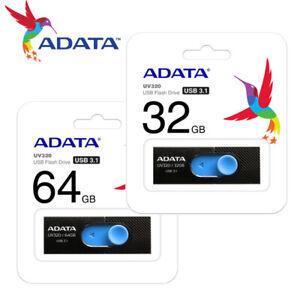 ADATA 32GB / 64GB UV320 Capless Design USB 3.1 USB Flash Pen Drive BLACK
