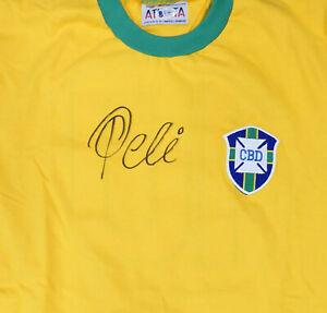 CBD BRAZIL PELE AUTOGRAPHED YELLOW ATHLETA SHORT SLEEVE JERSEY BECKETT 161456