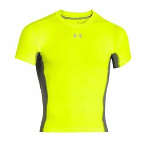 UNDER ARMOUR Heatgear Stretch Yellow Grey S/S Compression Crew Neck Shirt Mens S
