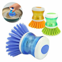 1X Kitchen Wash Clean Tools Pot Dish Brush with Washing Up Liquid Soap Dispenser