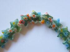 75pcs 3.5x10mm Millefiori Glass Beads - Pale Green Stars