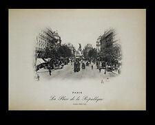 """Paris-1898 Photogravure """"La Place de la Republique."""" Neurdein-Freres"""