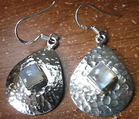 Square Moonstone Hammered 925 Sterling Silver Dangle Earrings