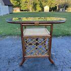 Vtg Bamboo Rattan Table Glass Top Oval 1970s Boho