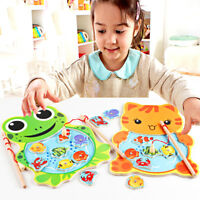 Baby Kids Magnetic Fishing Game Board Wooden Jigsaw Puzzle Educational Toys