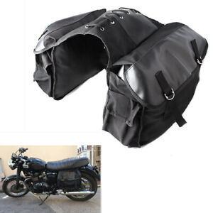 Motorcycle Bike Rear Tail Storage Bag Saddle Bags Black For Triumph Honda Suzuki