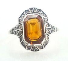 Ring 333er Gold u. 935er Silber Citrin Edelstein Antik 1,90 Gramm - Gr 51