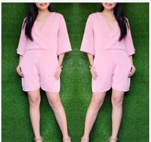 LADIES 3/4 SLEEVE ROMPER SHORTS - PINK