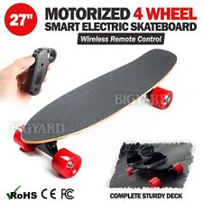 "27"" Motorized 4 Wheel Wireless Remote Control Rechargeable Electric Skateboard"