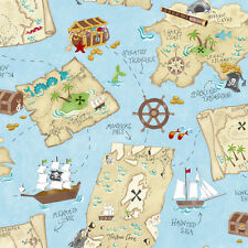 Little Boy's Pirate / Pirates Treasure Chest Map on Blue Wallpaper YS9295