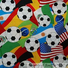 BonEful Fabric FQ Cotton Quilt USA Canada Soccer Foot*Ball L Flag Country Travel