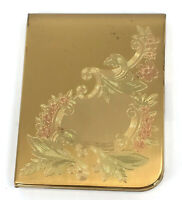 Elgin American Powder Compact 1940s Signed Puff Engraved Floral Color Wash Vtg