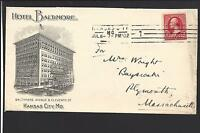 "KANSAS CITY, MISSOURI COVER,1902. ST.LINE CL.  LARGE  ADVT: ""HOTEL BALTIMORE ""."