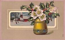 AK Litho. Geprägte Postkarte Vase Blumen Kirche gel. 1916 Neuwelt