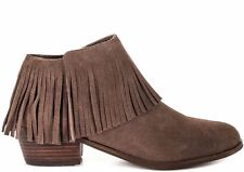 STEVE MADDEN SHOES PATZEE FRINGE BOOTIES TAUPE GRAY ANKLE BOOTS 7.5 BOHO