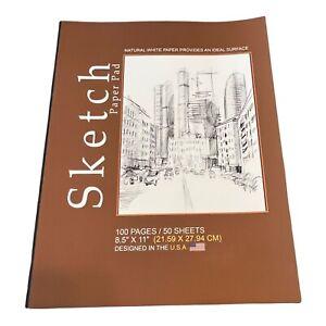 "50 Sheets 8.5""X11"" Premium Sketch Book Paper Pad Drawing"