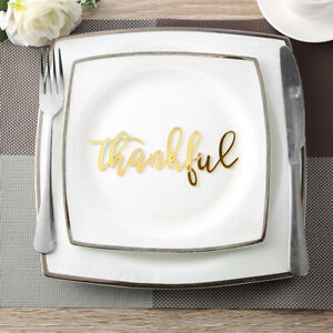 Thankful Acrylic Sign Word for Place Cards Name Plates Thanksgiving holiday deco