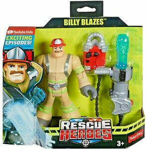"Fisher-Price Rescue Heroes Billy Blazes Firefighter Action Figure 6"" Accessories"