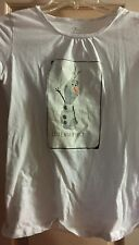 Disney FROZEN Girls White Tee T Shirt Olaf I Like Warm Hugs Size XL (14)