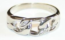 Gents 9ct White Gold Curb Link Ring Diamond Set