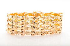 Antique RETRO Signed 1940s 14k Yellow Gold RIBBON Bracelet 34g RARE