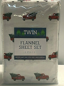 Flannel Christmas Red Pick Up Truck With Tree - TWIN Sheet Set