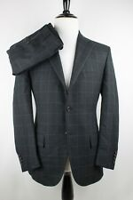 Polo Ralph Lauren x Corneliani Charcoal Windowpane Woven Tweed Suit 40S 32/30