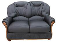 Debora 2 Seater Black Italian Leather Sofa Settee