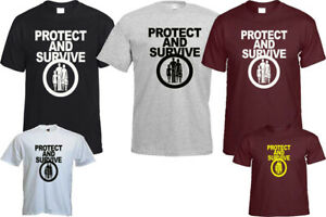 PROTECT AND SURVIVE T- SHIRT BLOGGER HIPSTER ANTI NUCLEAR CHRISTMAS TOP GIFT