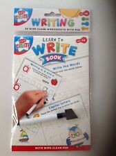 LEARN TO WRITE 20 WIPE CLEAN WRITING SHEETS WORK BOOK WORDS WRITING ALPHABET ABC