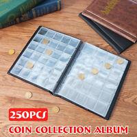 "250 Coin Holder Collection Storage Collecting Money Pockets Album Book 8X7"" PU"