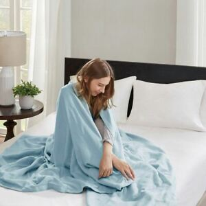 Luxury Blue Year Round High Quality Liquid Cotton Blanket - ALL SIZES
