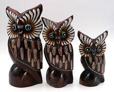 Trio de statuettes Chouettes / Hiboux en bois, fait main