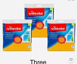 3 x Original Vileda Window & Glass Cleaning Cloth Clean Streak Free Finish