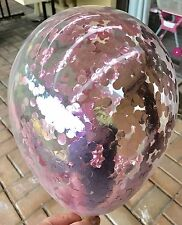 3x Metallic Light Baby Pink Clear Confetti Balloons 1st Birthday Wedding