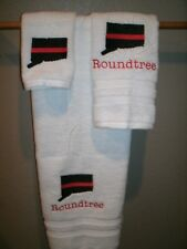 Fireman Red Thin Line Conecticut Firefighter Personalized 3 Piece Bath Towel Set