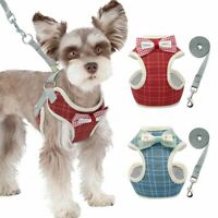 Small Dog Harness & Leash Mesh Walking Jacket Bowtie Vest Adjustable Chihuahua