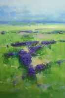 Lavenders Valley, Landscape, Original Oil painting, Large Size, One of a kind