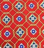 New Claybrooke tie, red with blue and gold geometric pattern, 100% silk      13A
