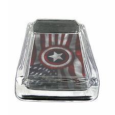 "American Flag D19 Glass Square Ashtray 4"" x 3"" Smoking Cigarette"