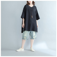 Lady Cotton Linen Blouse Tops Summer Batwing Sleeve V Neck Loose Long Shirt Soft