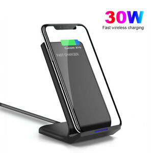 30W Qi Wireless Charger Charging Stand For iPhone 12 Pro Max Samsung S21 Note20+