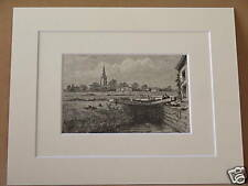 LECHLADE ANTIQUE MOUNTED ENGRAVING c1890 VERY RARE 10X8