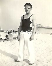 Original Vintage RP- Semi Nude- Gay Interest- Beach- Fancy Swimsuit and Pants