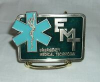 EMT EMERGENCY MEDICAL TECHNICIAN PEWTER BELT BUCKLE BLUE SYMBOL HEAVY IMPRESSIVE
